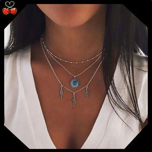 🍒 Boho Feather Turquoise Stone Layered Necklace